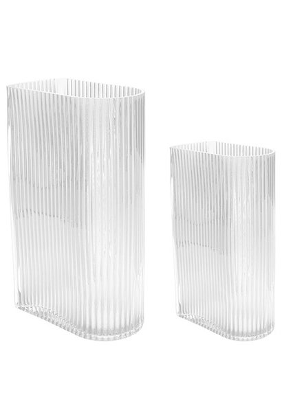 Vazen clear ribbed vases set of 2
