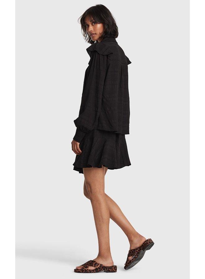 Rok ladies woven seer sucker stripe skirt black