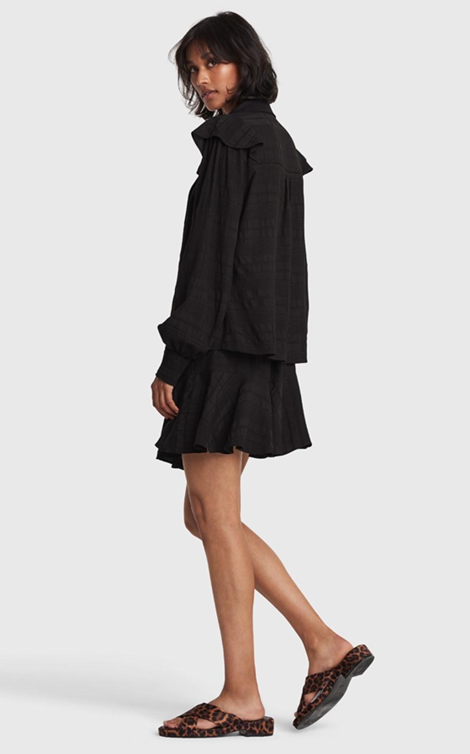 Rok ladies woven seer sucker stripe skirt black-4