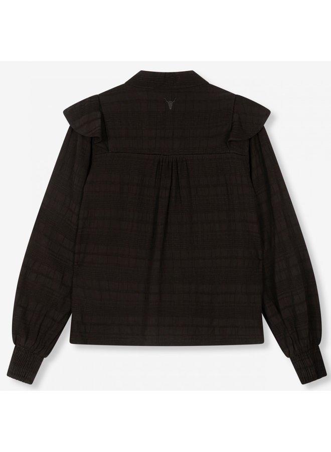 Blouse ladies woven seer sucker stripe top black