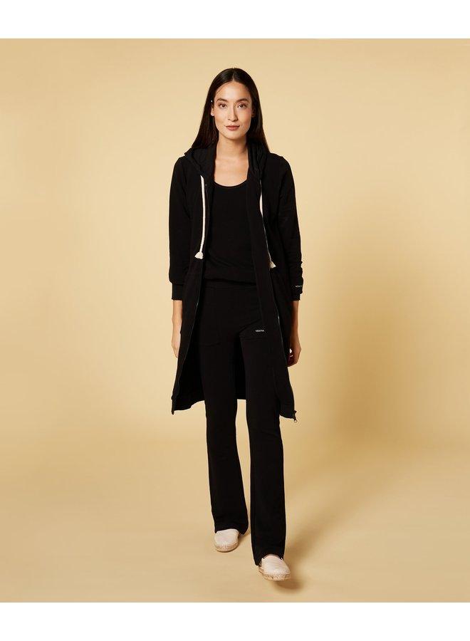 Vest long hoodie cardigan black