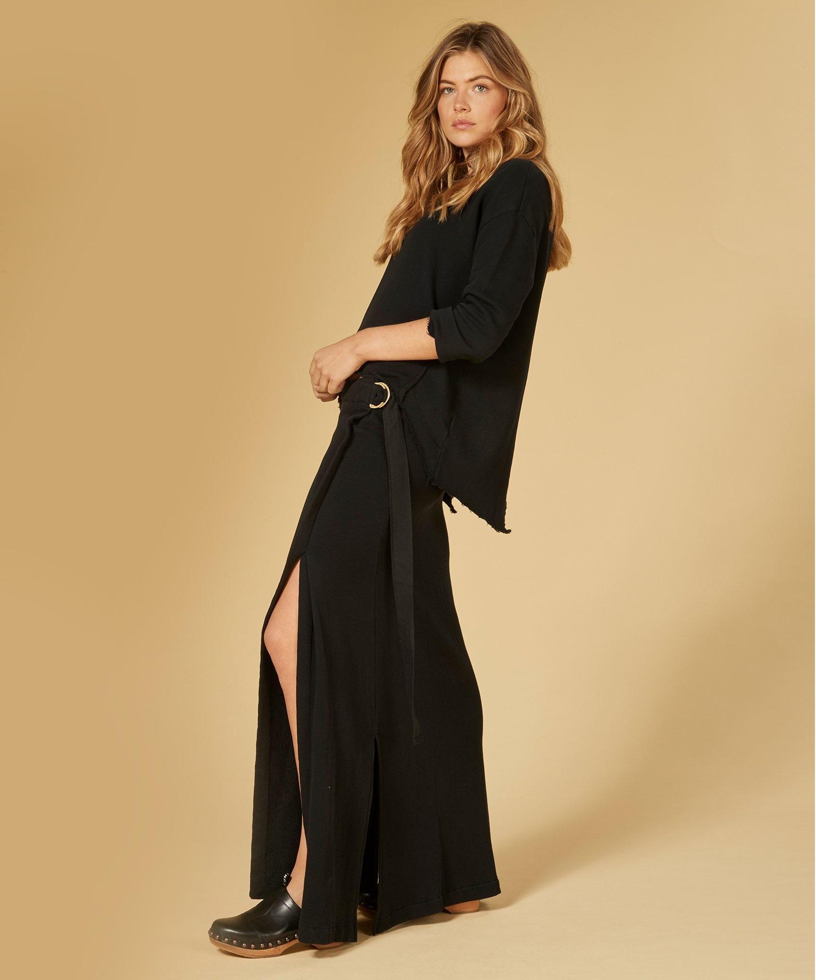 Rok belted long skirt black-7