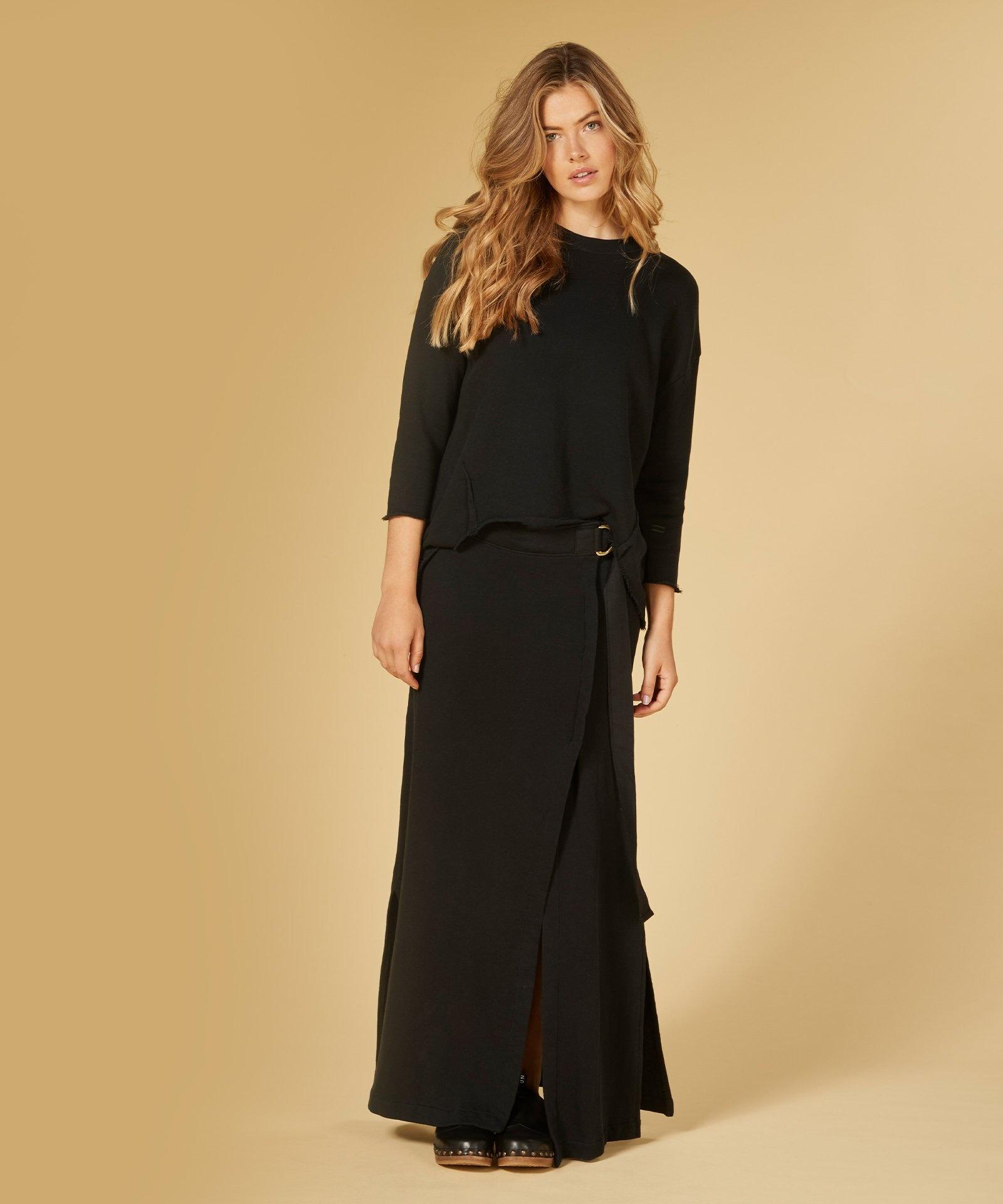 Rok belted long skirt black-8