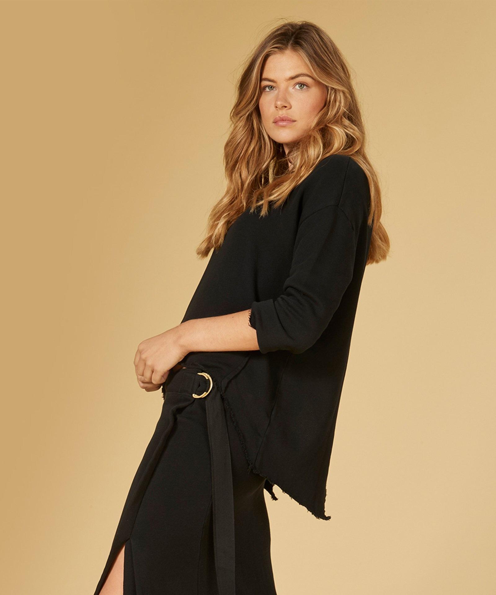 Trui sweater split black-6