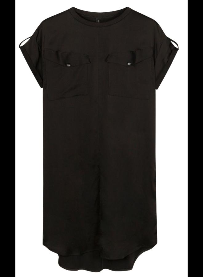 Jurk dress shiny black