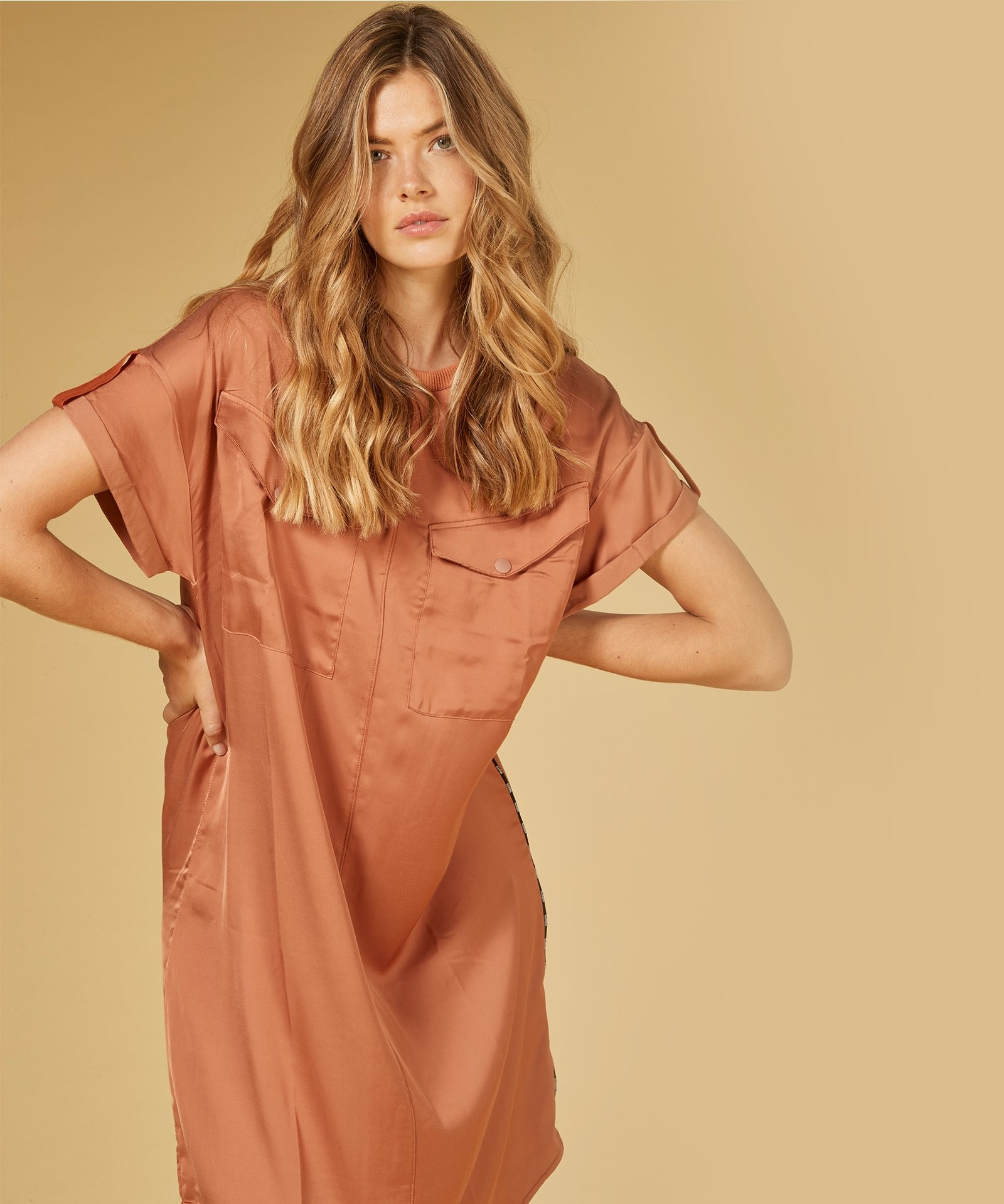 Jurk dress copper brown-3