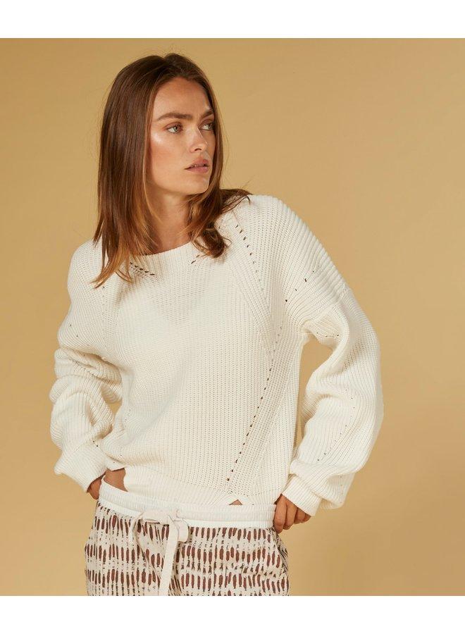 Trui sweater cotton knit white
