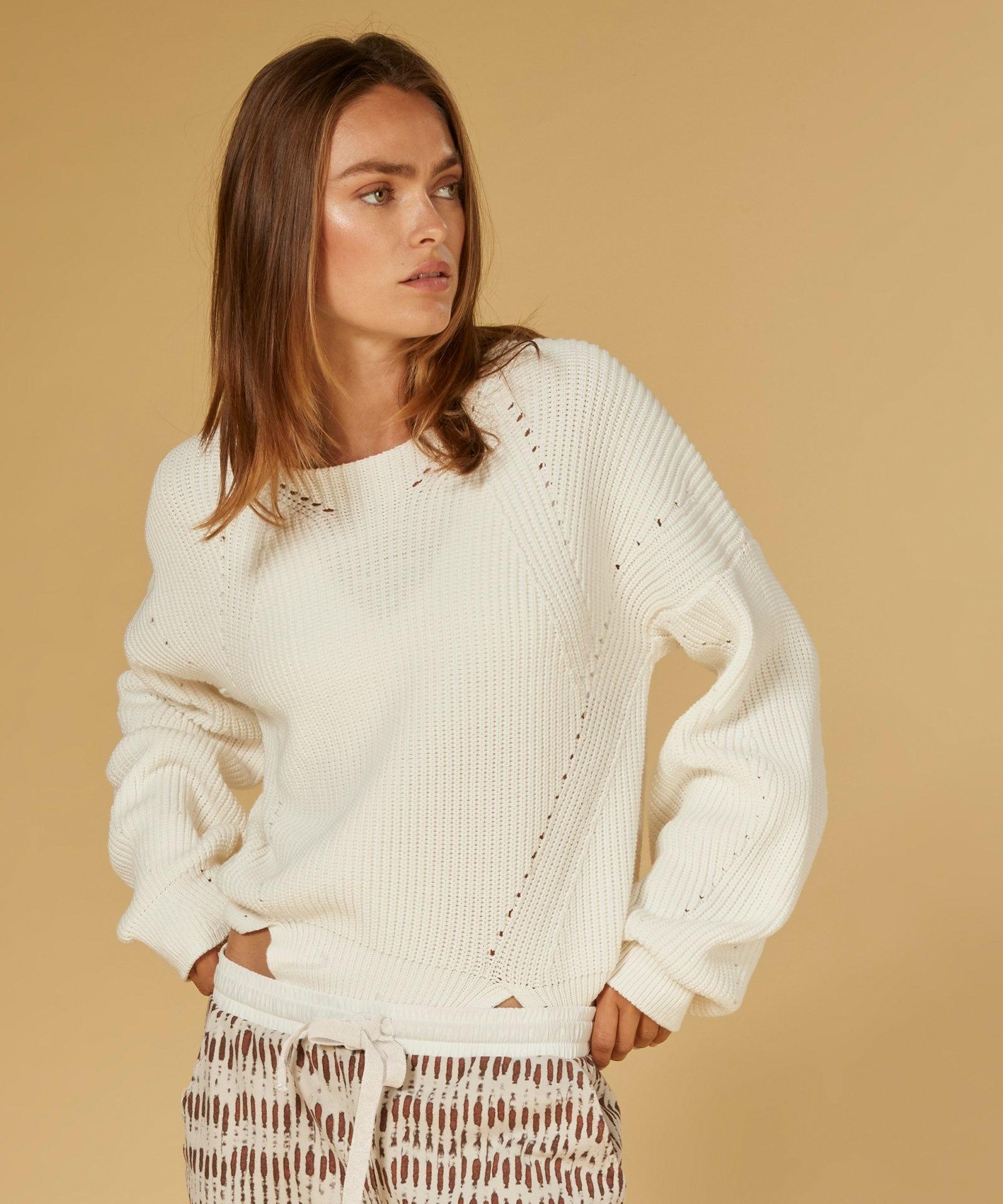 Trui sweater cotton knit white-3