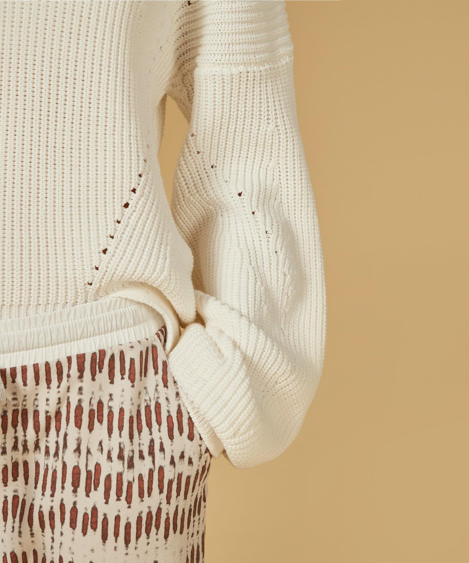Trui sweater cotton knit white-5