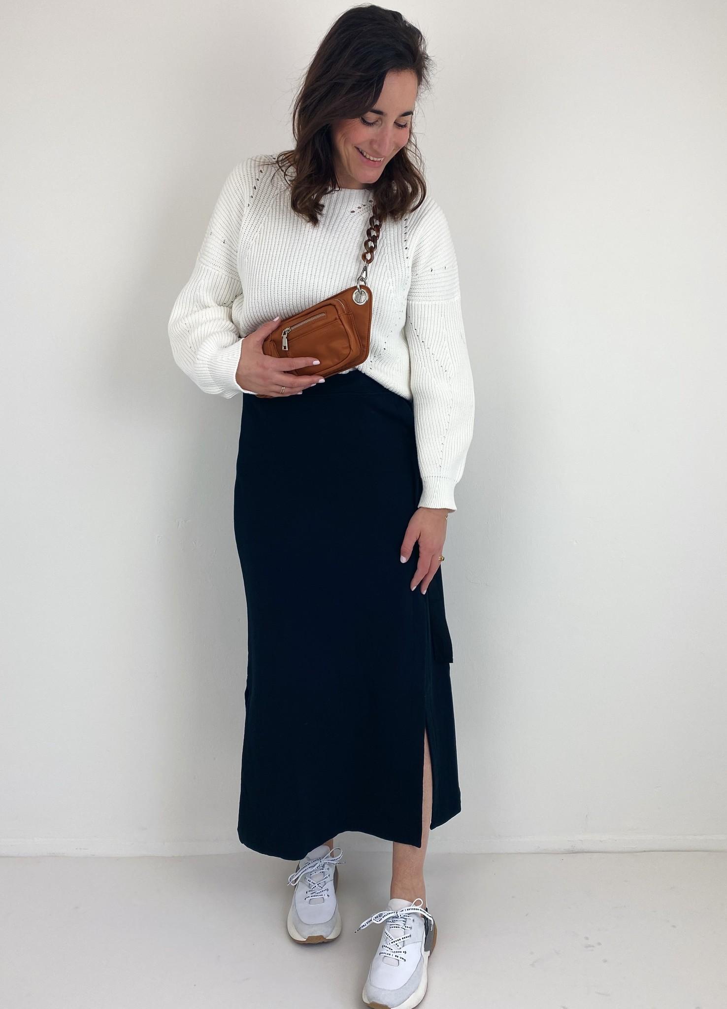 Rok belted long skirt black-4