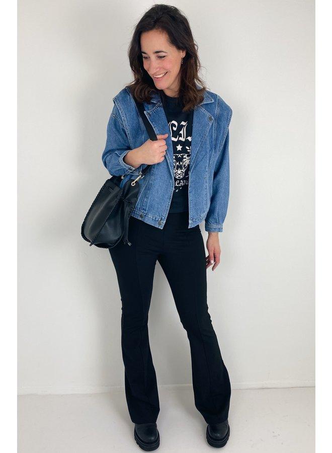 Jacket ladies woven denim biker jacket denim blue