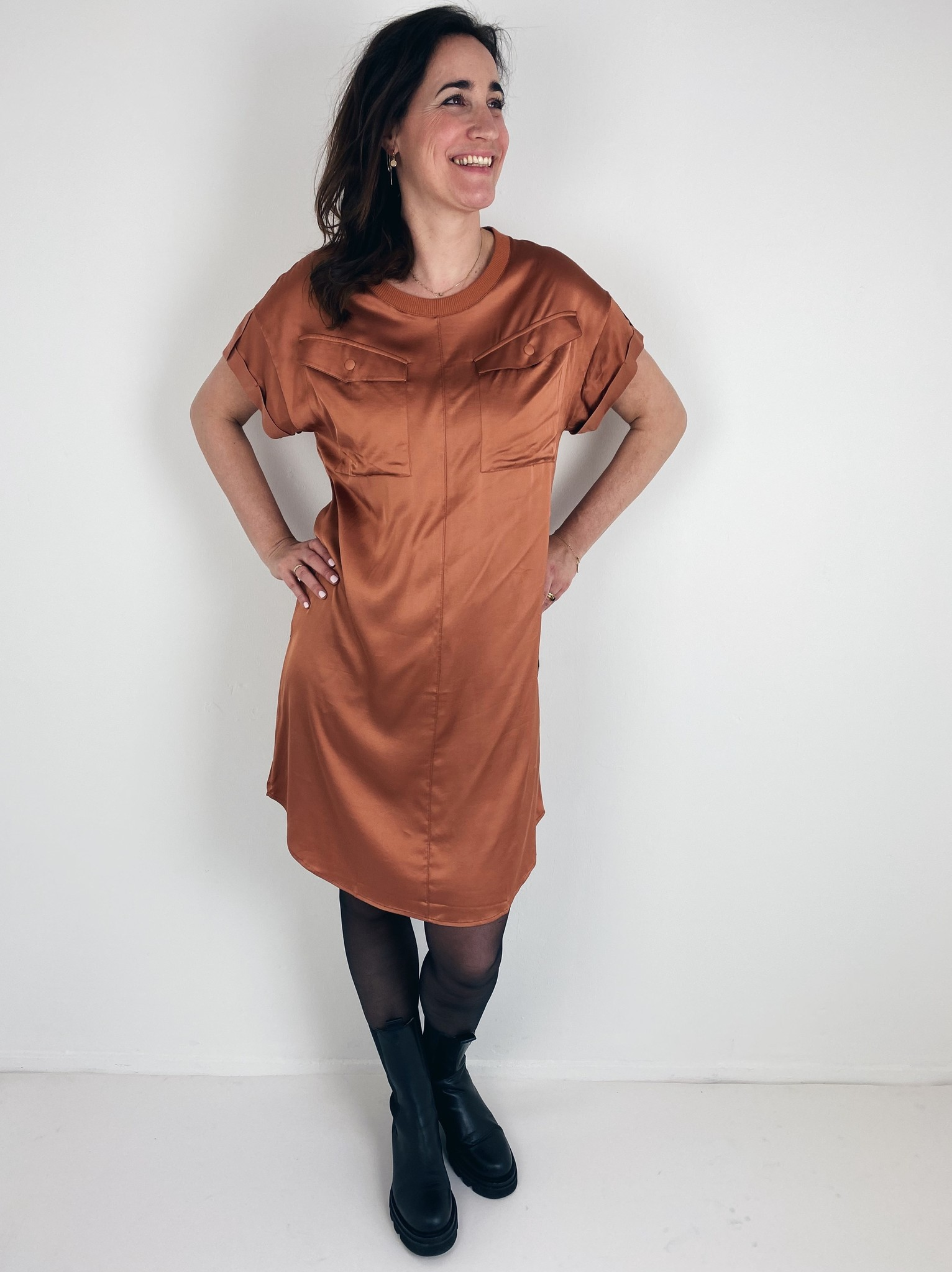 Jurk dress copper brown-1