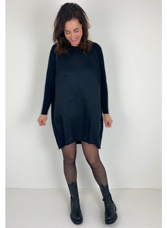 Jurk dress silk fleece black