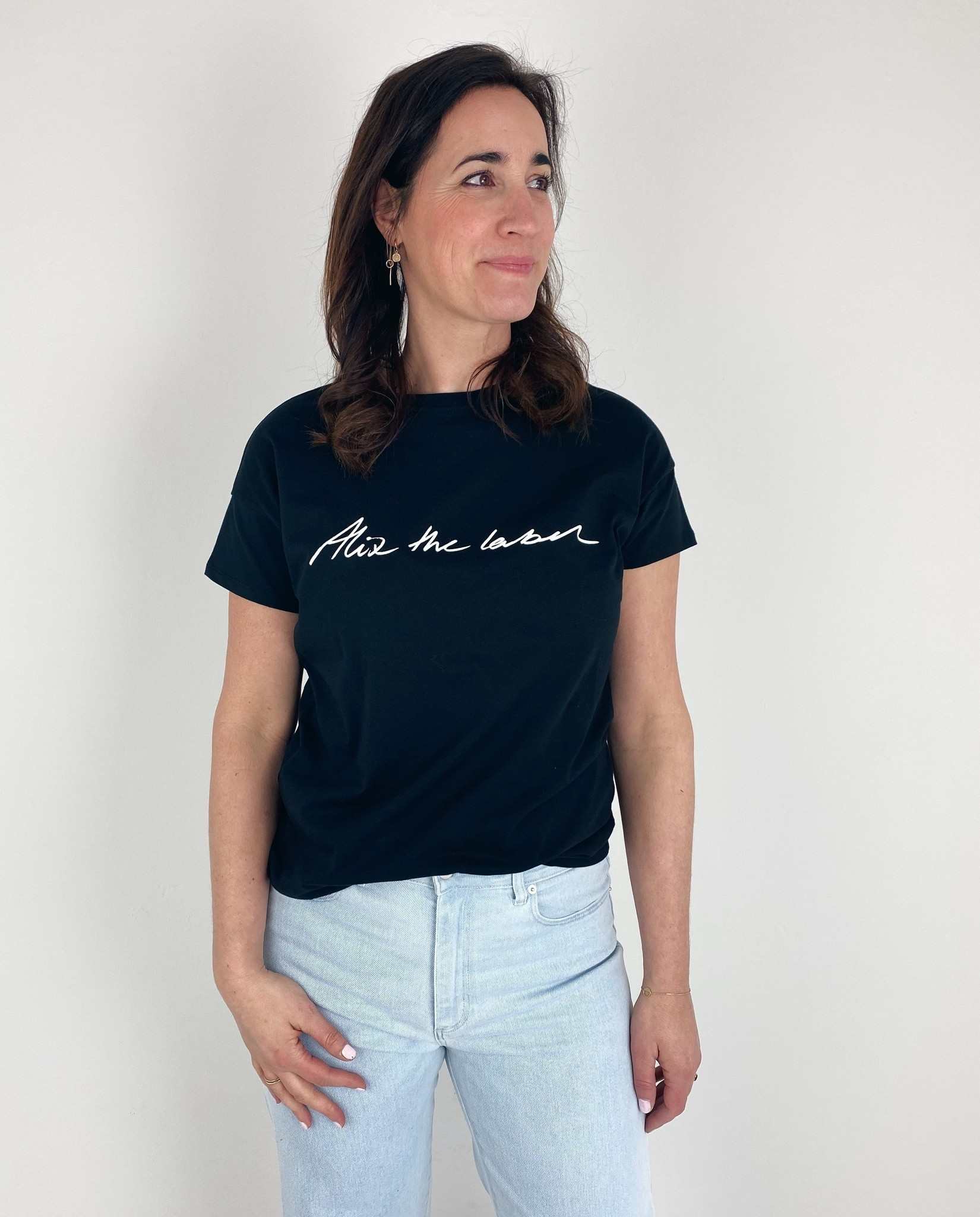 T-shirt ladies knitted Alix the label T-shirt black-3