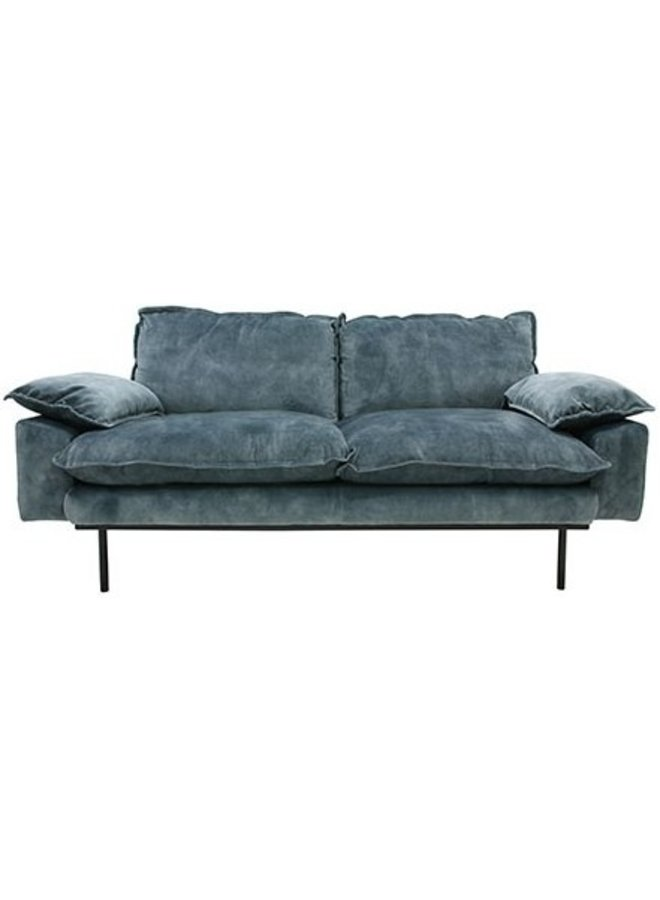 Bank retro sofa: 2-seats, vintage velvet, petrol blue
