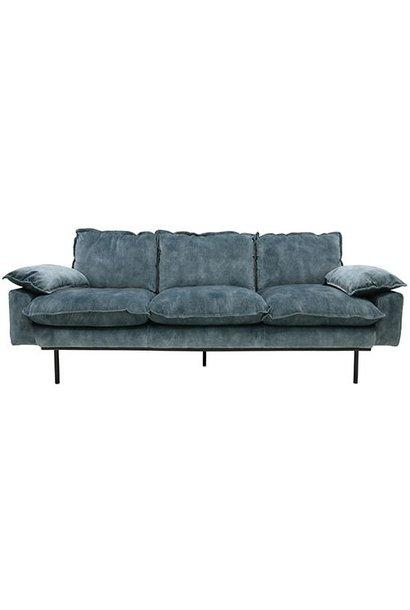Bank retro sofa: 3-seats, vintage velvet, petrol blue
