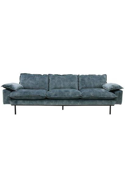 Bank retro sofa: 4-seats, vintage velvet, petrol blue