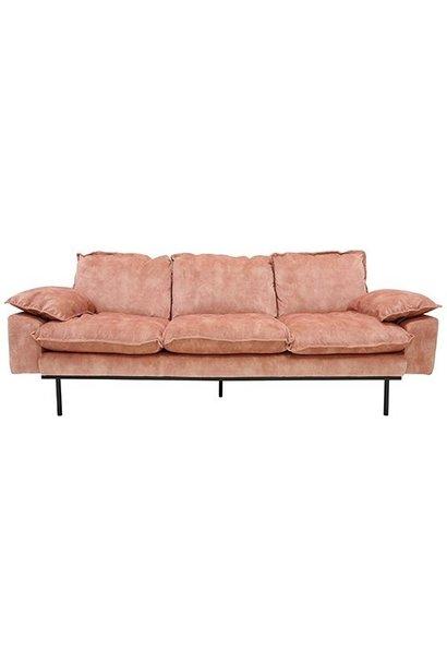 Bank retro sofa: 3-seats, vintage velvet, old pink