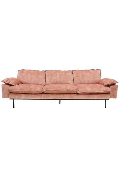 Bank retro sofa: 4-seats, vintage velvet, old pink