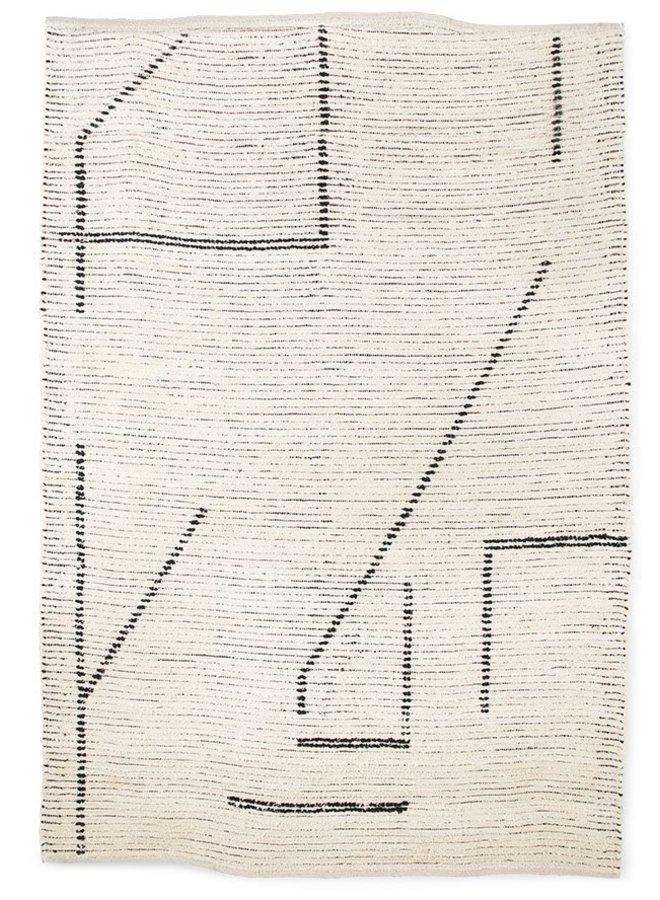 Vloerkleed hand woven cotton rug cream/charcoal (200x300)