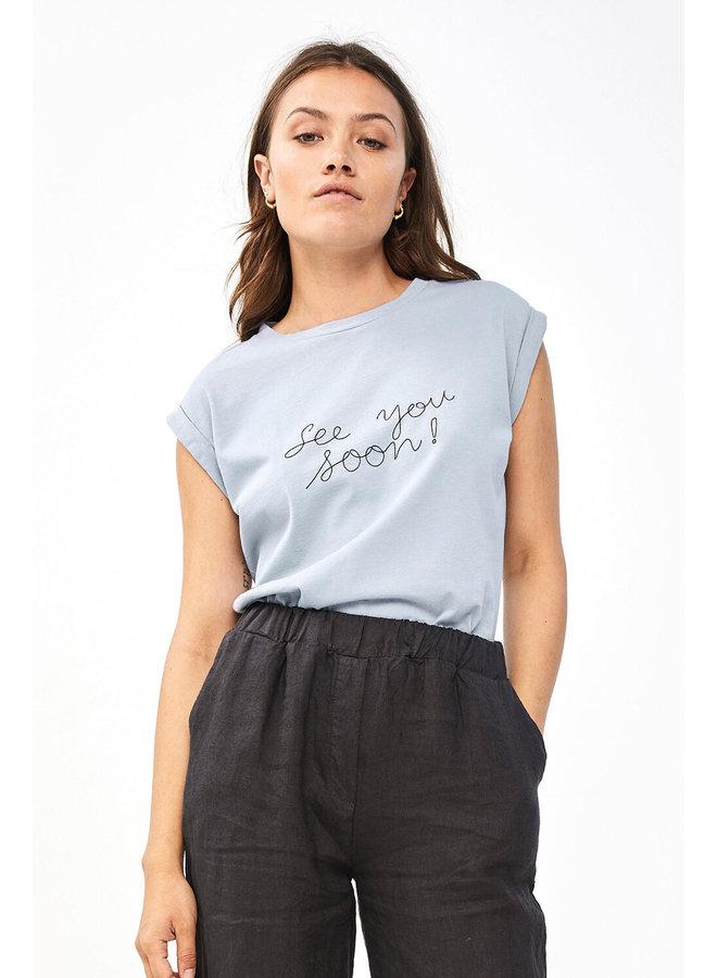 T-shirt Thelma top organic blue smoke