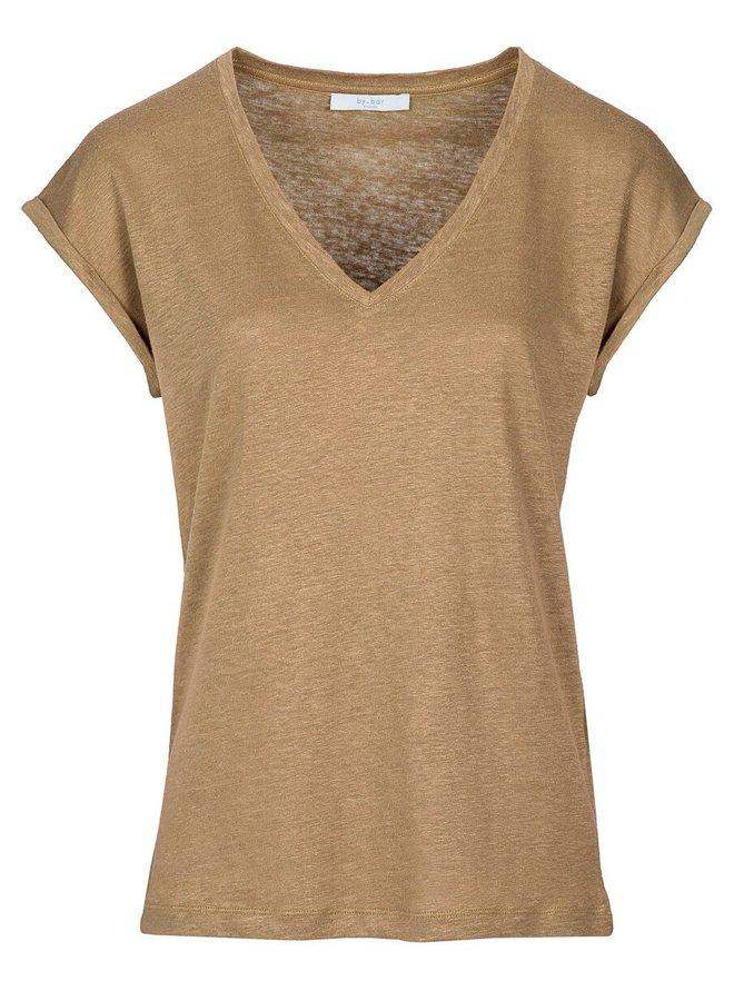 T-shirt mila linen top sepia