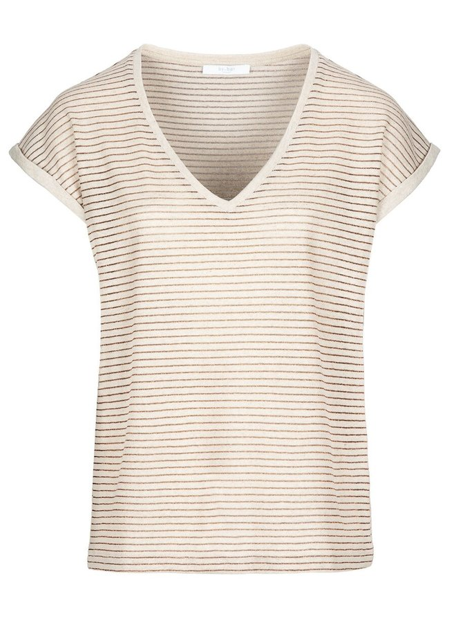 T-shirt Mila lurex stripe top sand