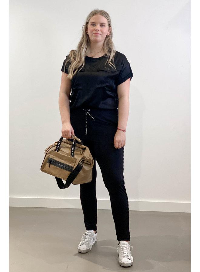 T-shirt top shiny black