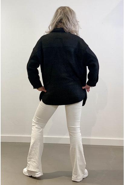 Jas ladies woven oversized shiny boucle jacket black