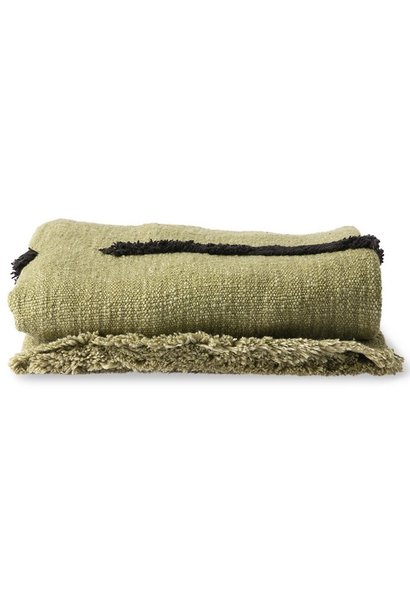 Woondeken soft woven throw pistachio with black tufted lines (130x170)