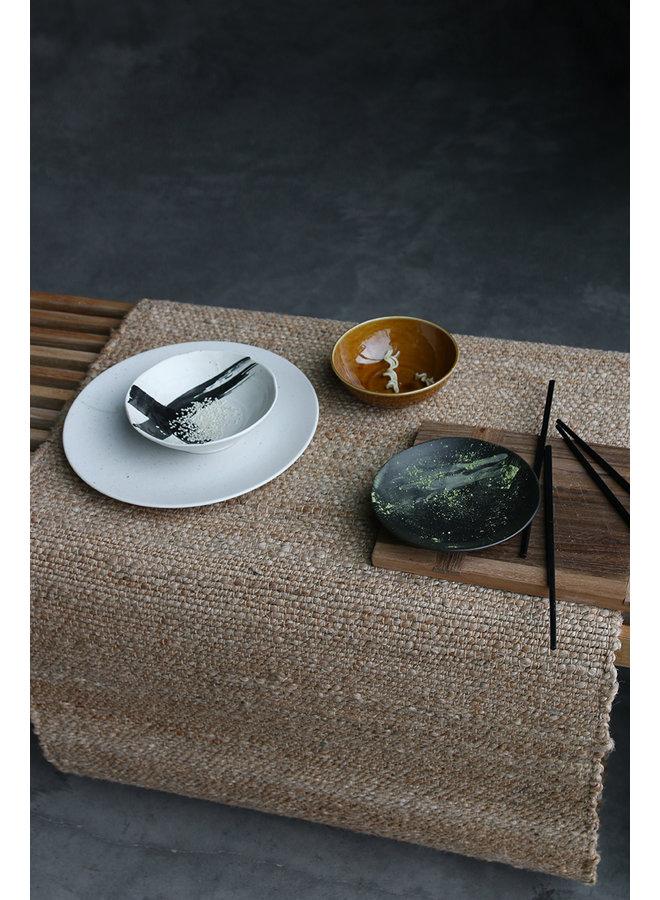 Bord Kyoto ceramics: japanese large dinner plate white speckled