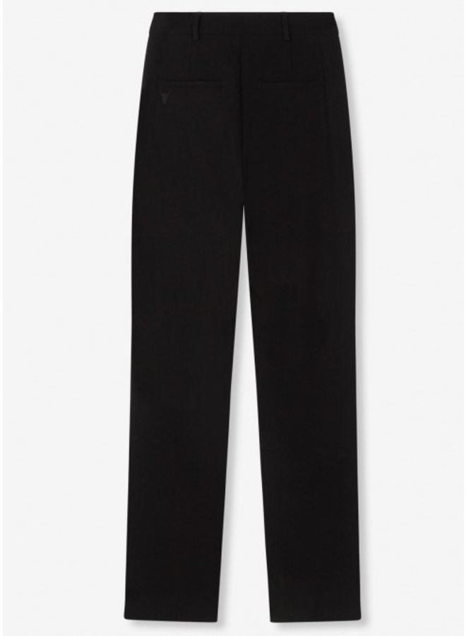 Broek Ladies woven stretch wide leg pants black
