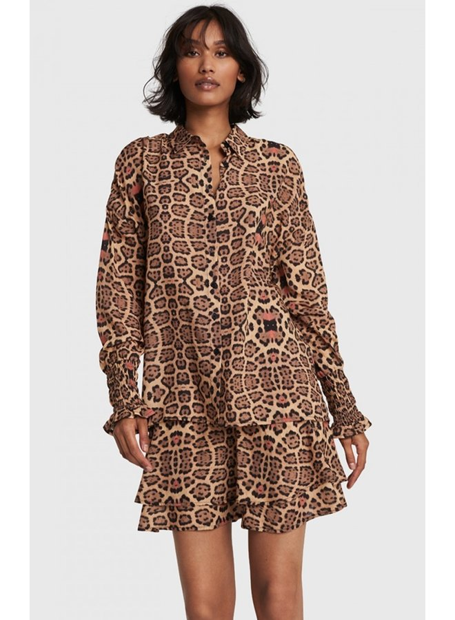Blouse ladies woven jaguar blouse animal
