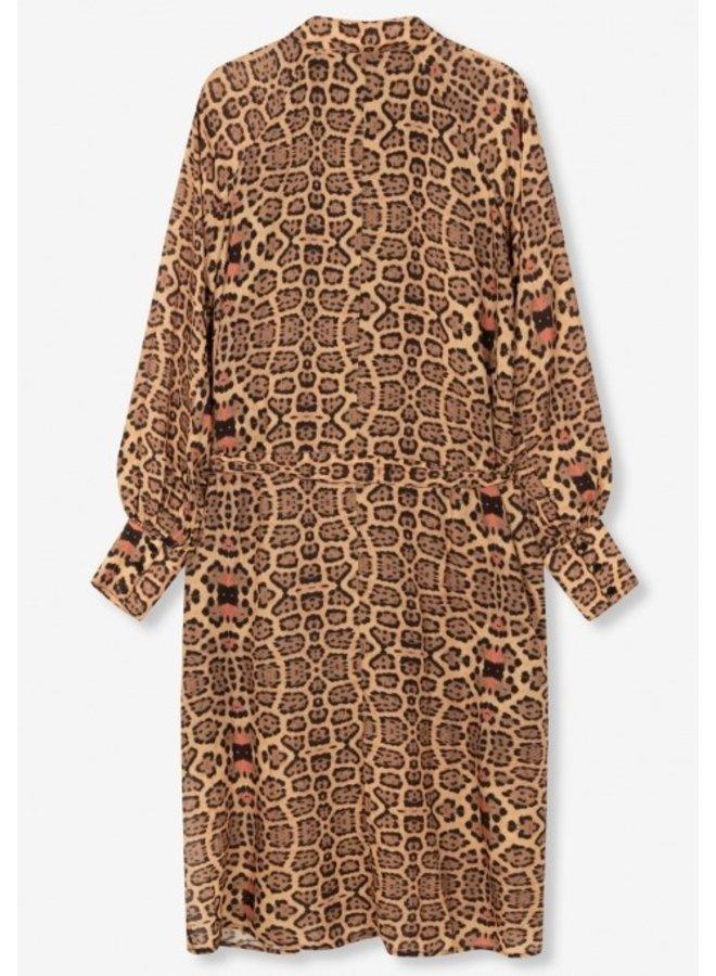 Jurk Ladies woven jaguar oversized blouse dress animal