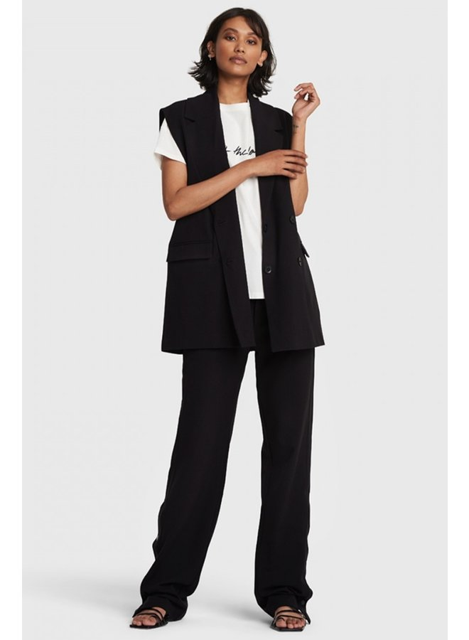 Gilet ladies woven stretch waistcoat black
