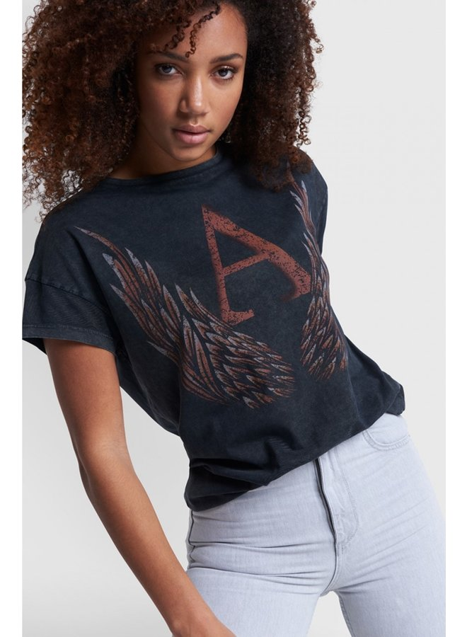 T-shirt ladies knitted A wings T-shirt black