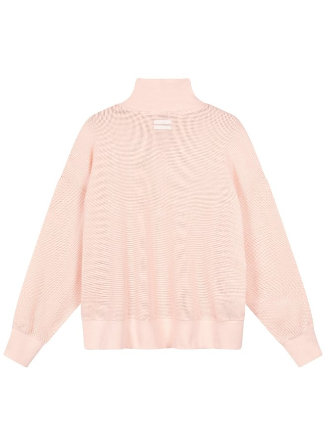 Trui high neck sweater mesh soft pink