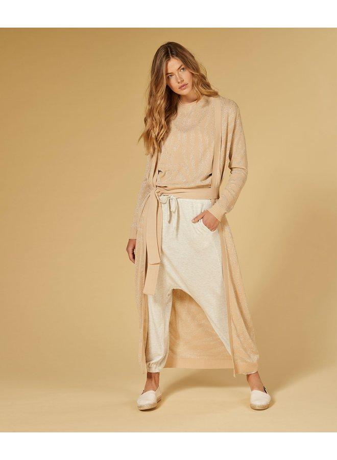 Vest cardigan lurex zebra soft beige