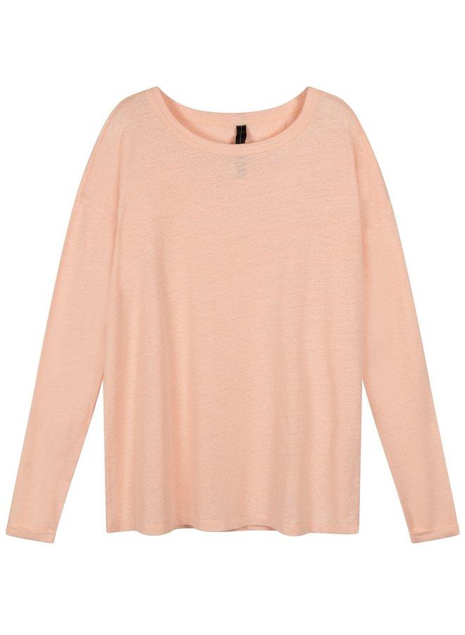 Top longsleeve tee linen soft pink