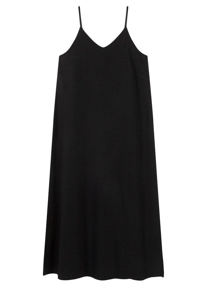 Jurk strappy dress fleece black