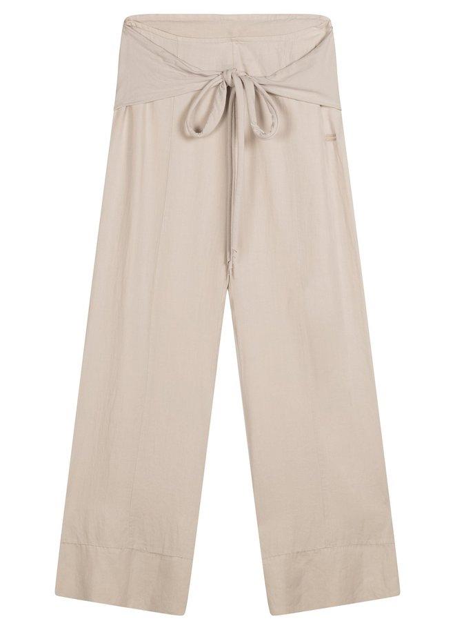 Broek belted wide pants white sand