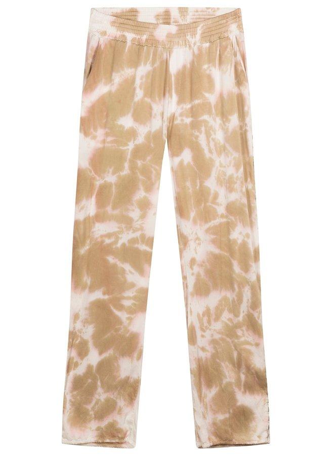 Broek wide pants tie dye gold