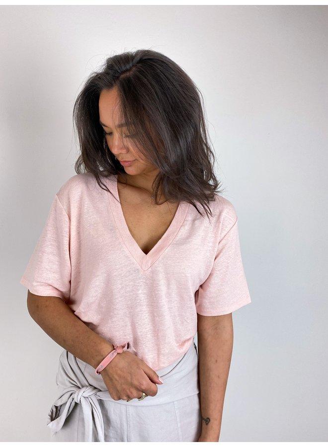 Top v-neck tee linen soft pink