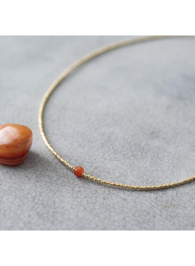 Ketting Flora Carnelian Gold Necklace