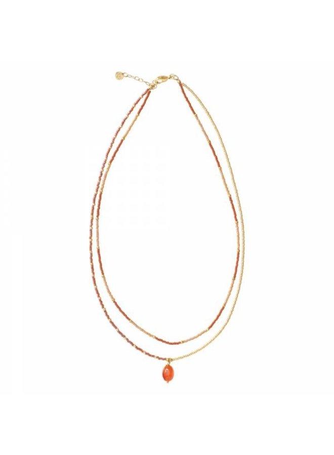 Ketting Rainbow Carnelian Gold Necklace