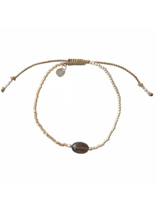 Armband Ruby Smokey Quartz Silver Bracelet