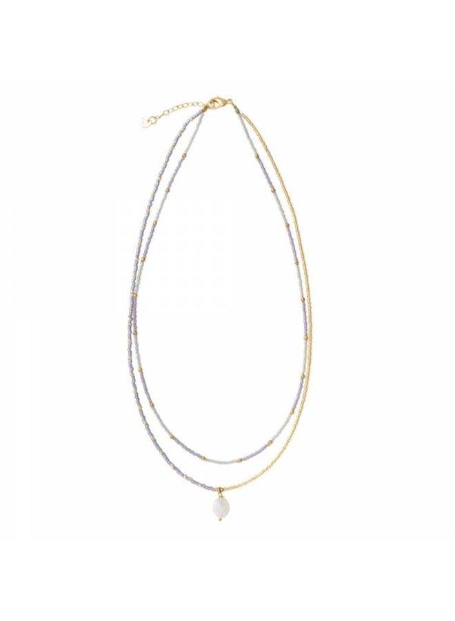 Ketting Rainbow Moonstone Gold Necklace