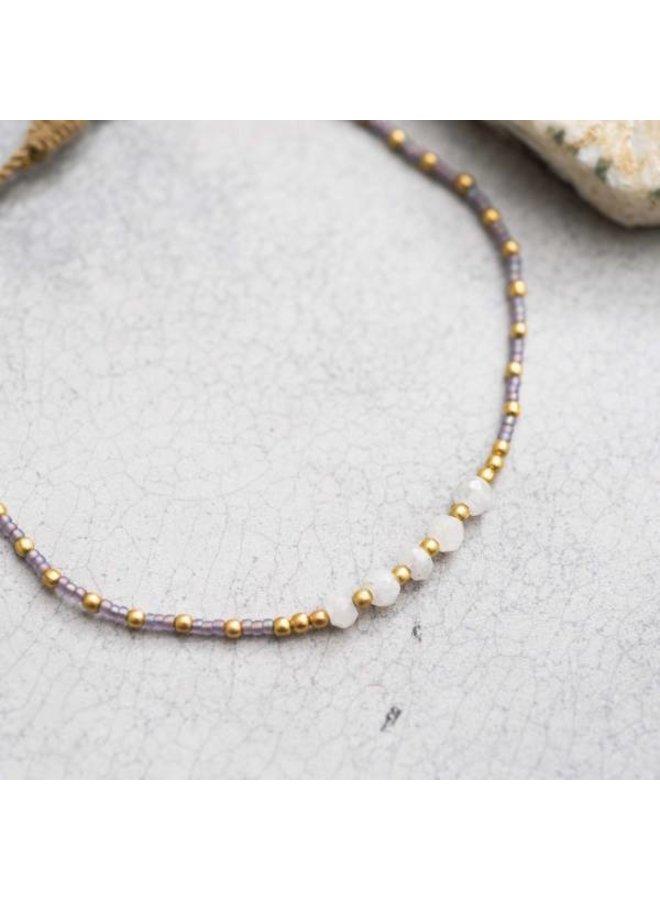 Enkelbandje Confetti Moonstone Gold Anklet