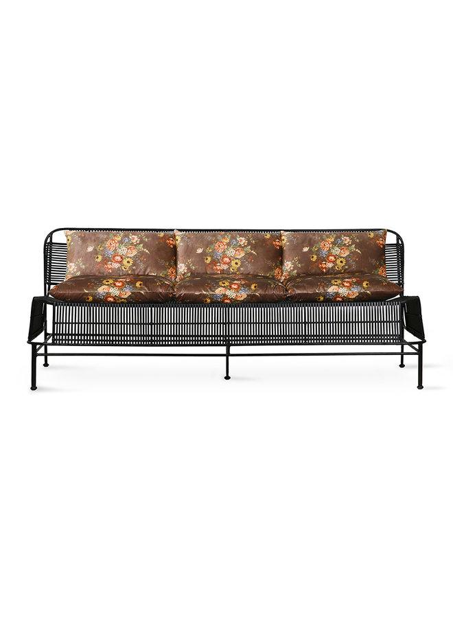 Bank woven outdoor lounge sofa black