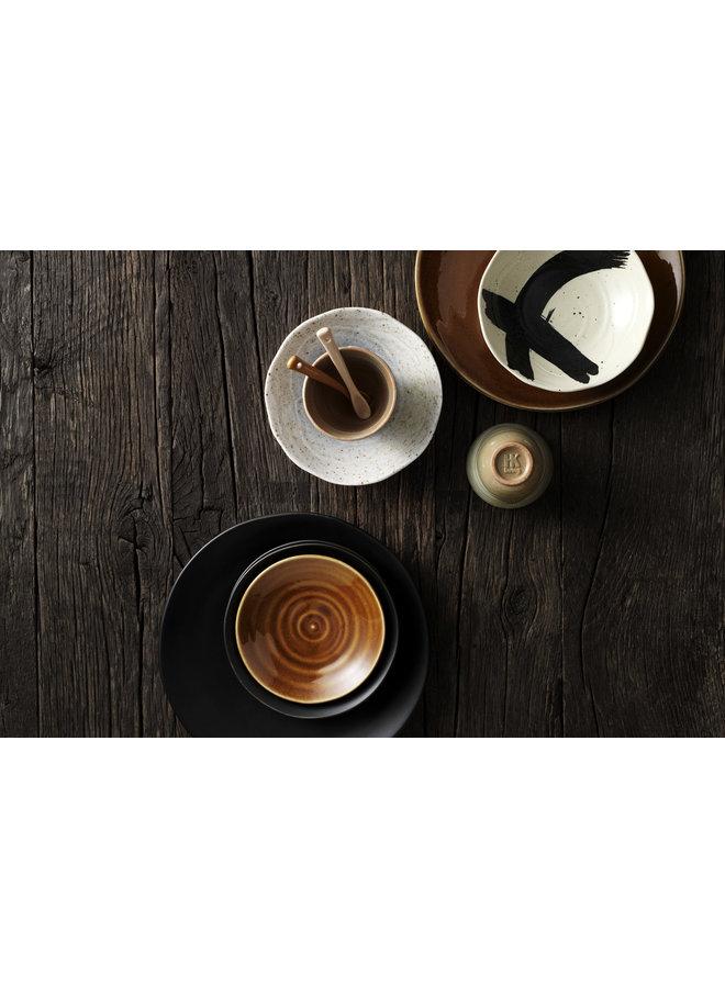 Bord Kyoto ceramics: japanese dinner plate brown